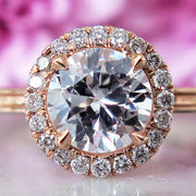 Giselle Diamond Halo w/ Beveled Band <br/> Engagement Ring