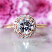 Unique diamond halo in rose gold with conflict free diamonds and beveled band custom made in nyc - Giselle