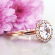 Unique diamond halo engagement ring with beveled band in rose gold and conflict free diamonds - Giselle