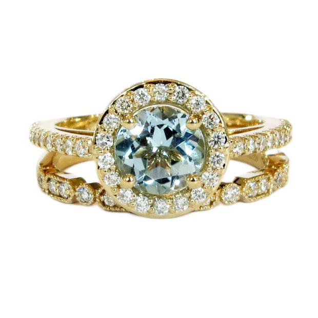 Aquamarine Halo Engagement Ring in Yellow Gold With Diamond Accents & Wedding Band by Dana Walden Bridal, NYC