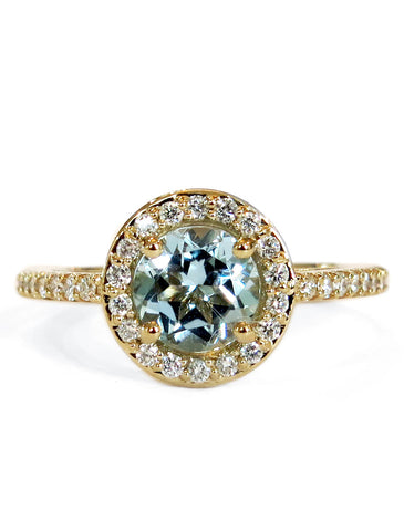 Aquamarine Halo Engagement Ring in Yellow Gold With Diamond Accents by Dana Walden Bridal, NYC