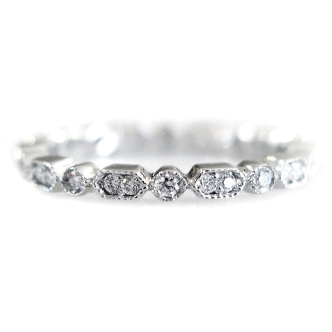 Stella Diamond Deco Wedding Band in White Gold by Dana Walden Bridal NYC