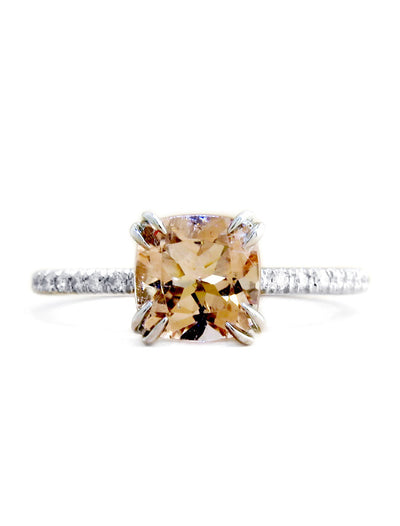 Carroll Unique Peach Morganite Engagement Ring with Diamond Accents in White Gold - Delicate, Thin, Low Profile - Handmade in NYC