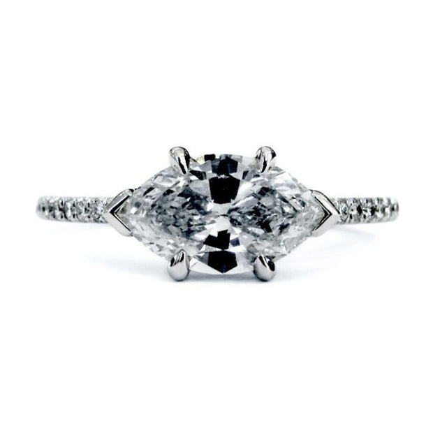 Ingrid East-West Marquise Diamond Engagement Ring in White Gold with Thin Micro-Pavé Diamond Band