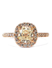 Light yellow diamond halo engagement ring with cushion cut diamond and conflict free accents in rose gold - Shelby