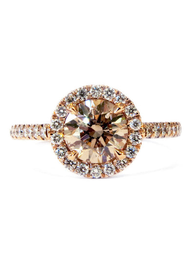 Delmira 1ct Bronze Diamond Halo <br/> Engagement Ring