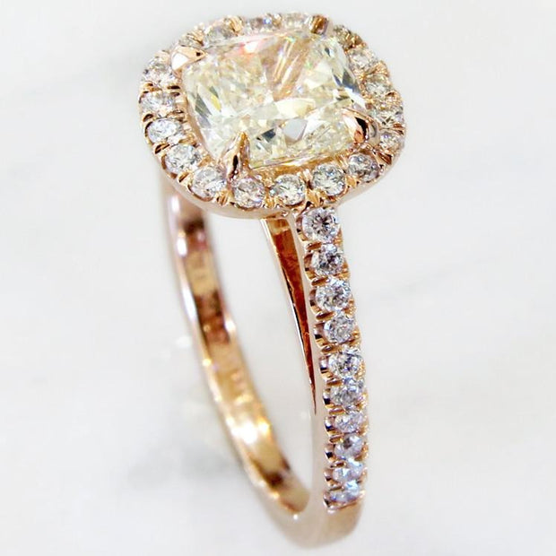 Cushion cut diamond halo with light yellow diamond in rose gold- Shelby