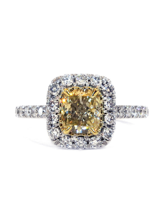 Yellow diamond halo engagement ring with cushion cut diamond and conflict free accents in two tone setting - Caterina