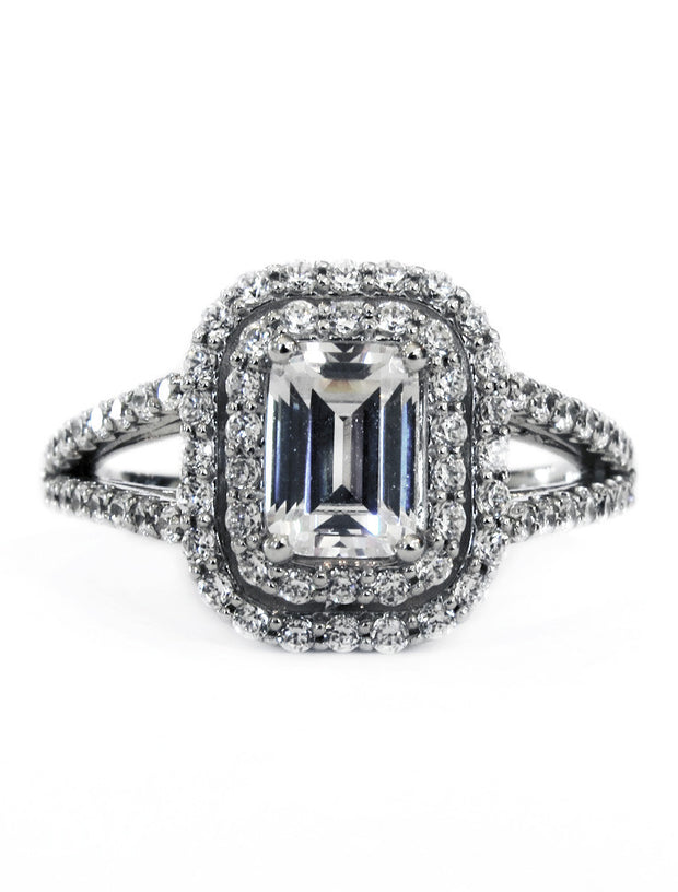Double halo emerald cut diamond engagement ring - Alexa