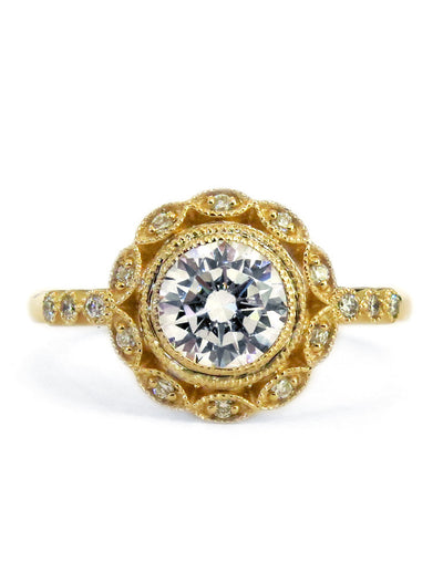 Unique diamond halo engagement ring in yellow gold & deco accents handmade in nyc - Valencia