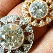 Unique diamond engagement rings in platinum and yellow gold with antique details and conflict-free diamonds - Sienna