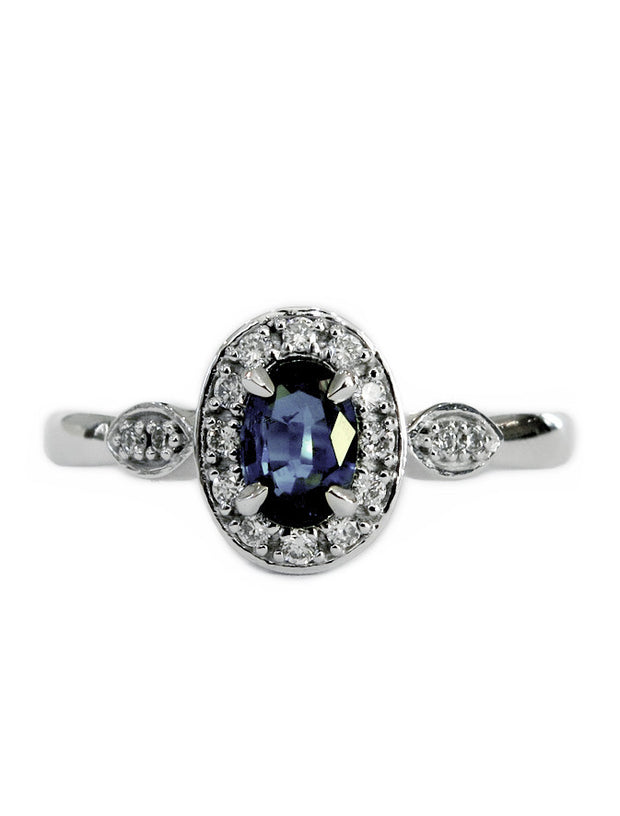 Affordable sapphire & diamond halo engagement ring in white gold - Milena