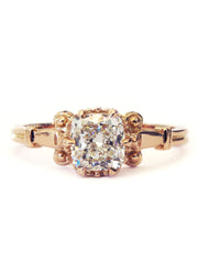 Artistic cushion cut diamond engagement ring in rose gold with vintage inspired details - Lulu