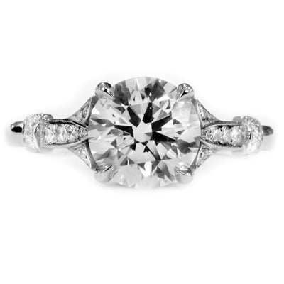 Minna 2 ct Diamond Engagement Ring with Nature Inspired Design in White Gold