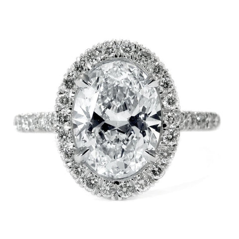 Layna Oval Diamond Halo in Platinum - Delicate, Custom, Thin - by Dana Walden Bridal NYC