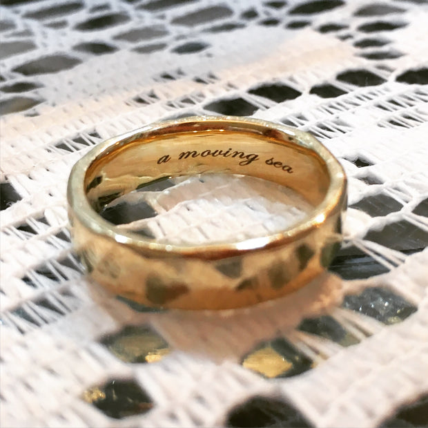 Unique Textured Wedding Ring Yellow Gold with Engraving Handmade in NYC