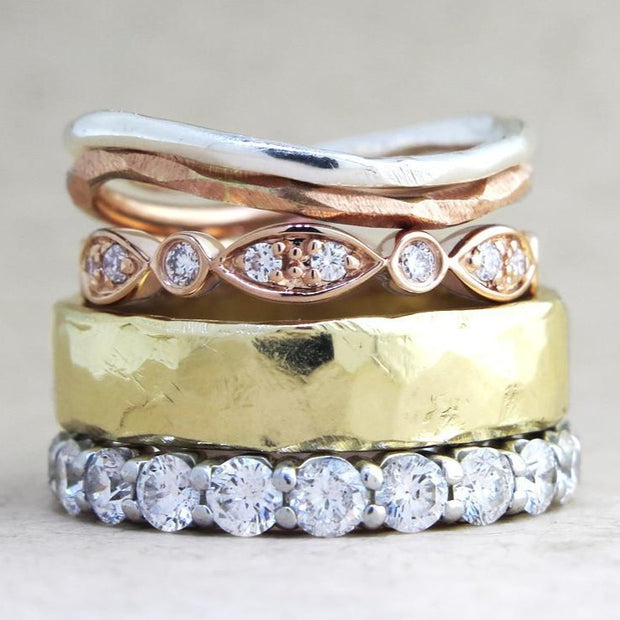Mixed Metal Stacking Wedding Bands by Dana Walden Bridal NYC
