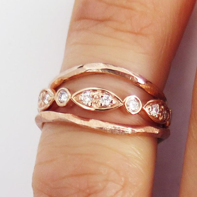 Zola Thin Curved Wedding Band With Hand Textured Finish