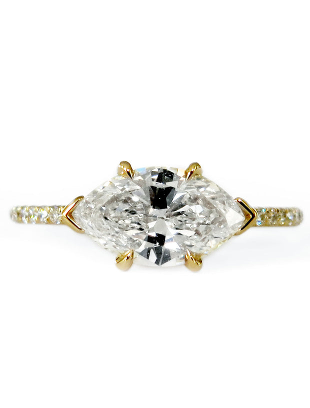 Ingrid East-West Marquise Diamond Engagement Ring in Yellow Gold with Thin Micro-Pavé Diamond Band