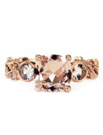 Nature inspired Ivy morganite engagement ring in rose gold with conflict free diamond accents