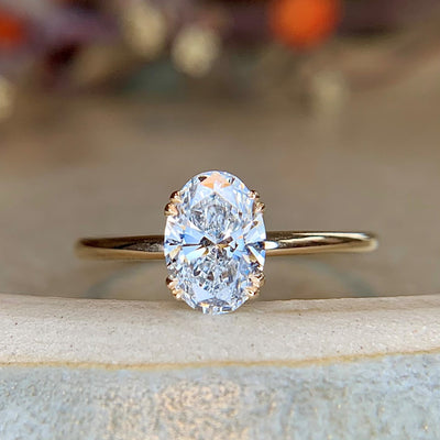 Ethical Oval-shaped Diamond Solitaire Engagement Ring, handmade by Dana Walden Jewelry in 14k yellow gold.