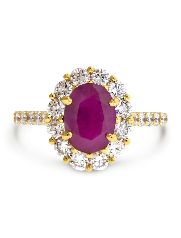 Joelle Ruby + Diamond Yellow Gold Engagment RIng - Unique - Made In NYC - Designed By Dana Walden Chin + Radika Chin