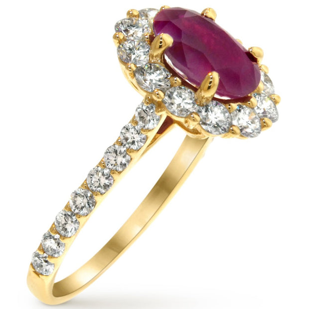 Side View Of Ruby and Yellow Gold Engagement RIng - Diamond Alternative