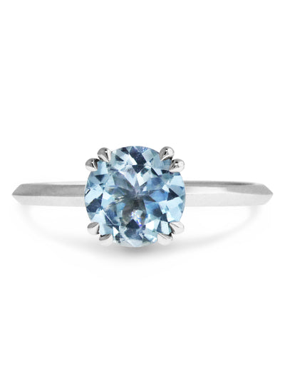 Kelsie Aquamarine solitaire engagement ring with knife edge band in white gold - nontraditional, alternative, gemstone