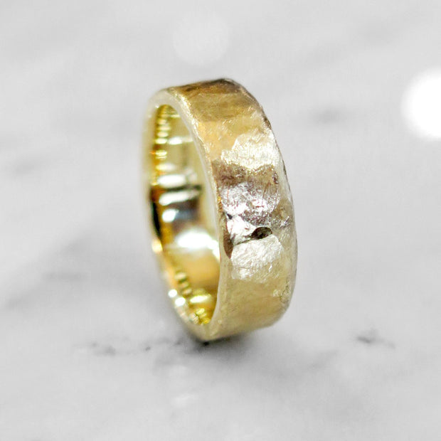 Unique Handmade Yellow Gold Wedding Ring Band with Hammered Texture