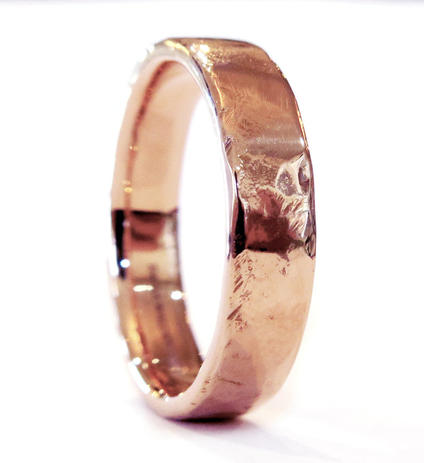 Unique Textured Rose Gold Wedding Band Ring Handmade in NYC