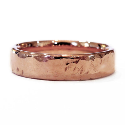 Unique Rose Gold Wedding Band with Hammered Organic Textures