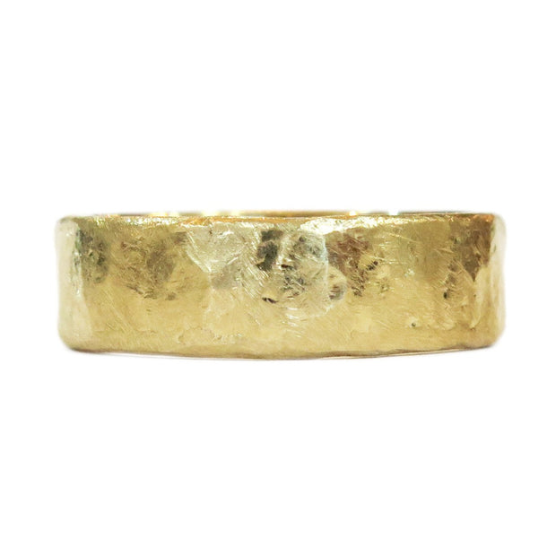Unique Hammered & Textured Wedding Ring Band in Yellow Gold