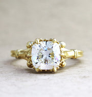 Unique cushion cut diamond engagement ring with antique details custom made in nyc - Lulu