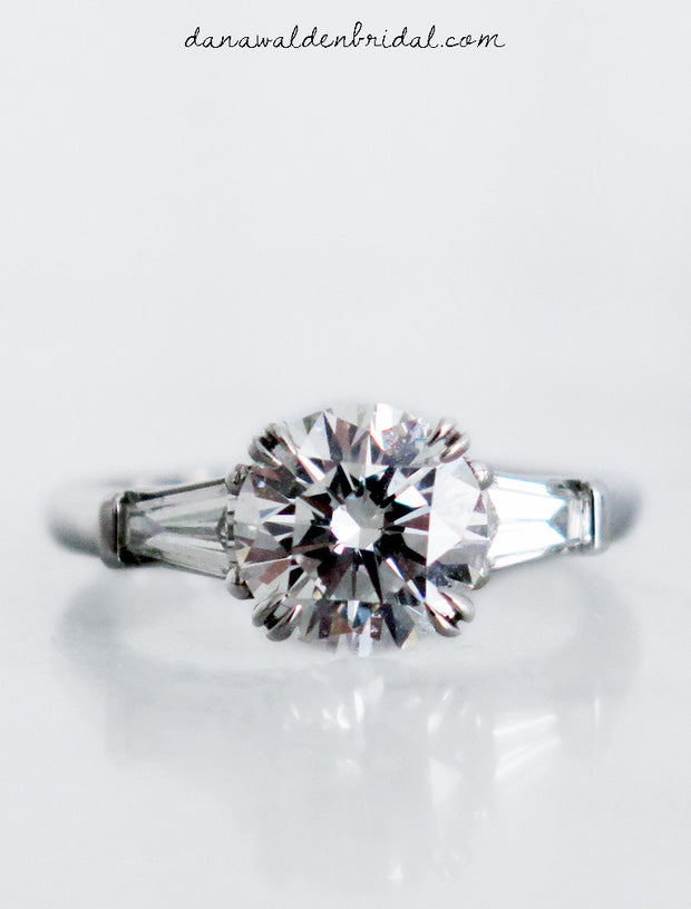 Perfect three stone diamond engagement ring in platinum handmade in nyc - Leandra