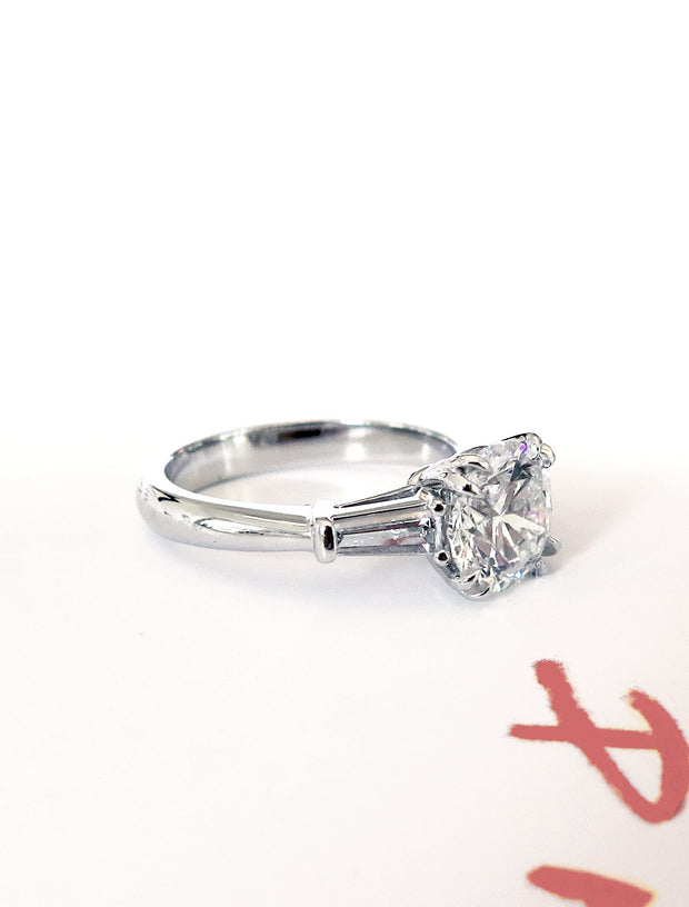 Diamond three stone engagement ring with tapered baguettes in white gold - side profile- Leandra