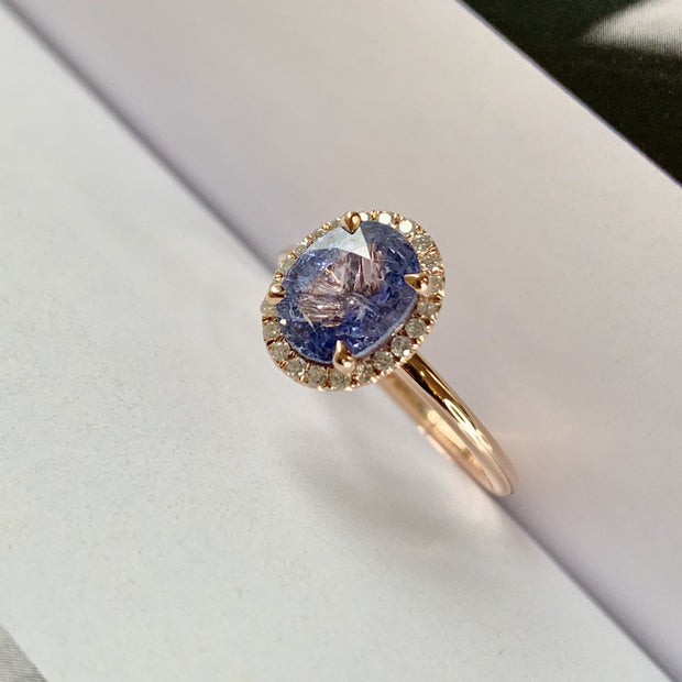 Purple Sapphire Rose Gold Halo Engagement Ring - Side View