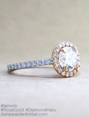 Lenore Custom Rose Gold + Platinum Diamond Halo Engagement Ring - designed by Dana Chin and Radika Chin for Dana Walden Bridal NYC - side view