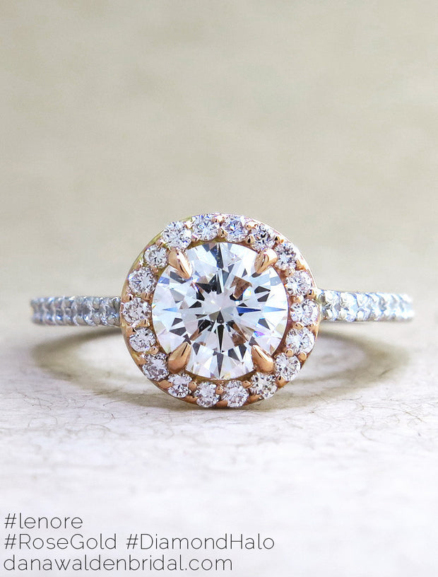 Lenore Custom Rose Gold + Platinum Diamond Halo Engagement Ring - designed by Dana Chin and Radika Chin for Dana Walden Bridal NYC