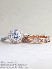 Lenore Custom Rose Gold + Platinum Diamond Halo Engagement Ring With India Rose Gold Diamond Eternity Wedding Ring - designed by Dana Chin and Radika Chin for Dana Walden Bridal NYC