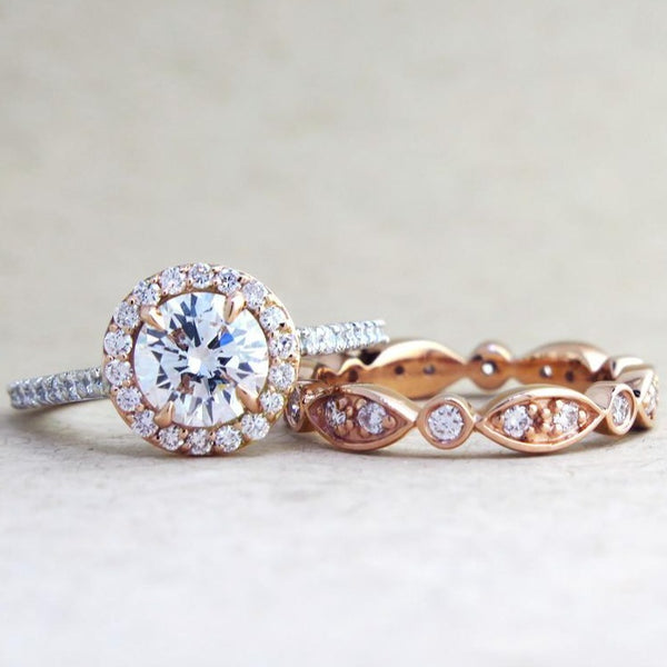 India Unique Rose Gold Diamond Wedding Band Dana Walden Bridal