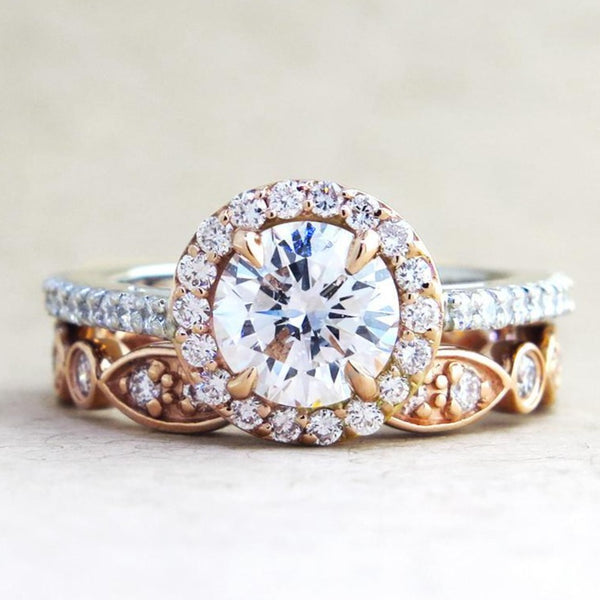 Lenore Rose Gold & Platinum Diamond Halo in Mixed Metal
