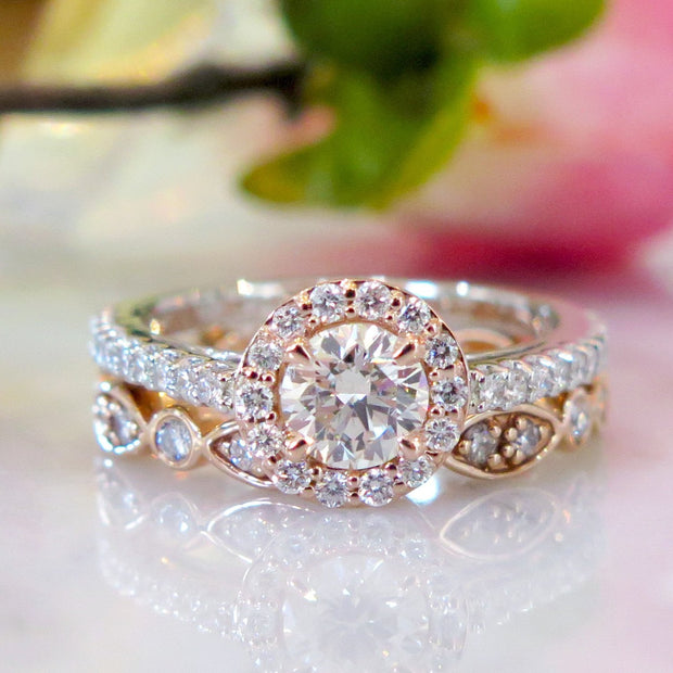 Lenore rose gold and platinum diamond halo with India deco wedding band