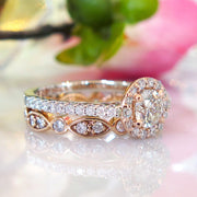 Lenore rose gold and platinum halo with India deco wedding band bridal set