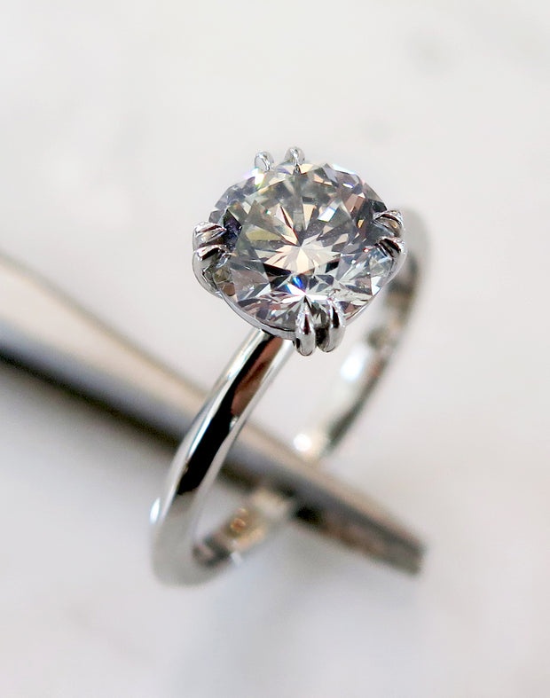 Lily grey diamond engagement ring in platinum - conflict free & handmade in nyc