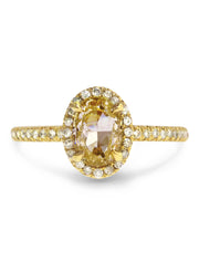 Linza yellow diamond halo engagement ring in 18k yellow gold with conflict free diamonds thin delicate low profile