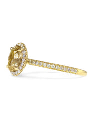 Linza oval yellow diamond engagement ring in yellow gold side profile thin delicate conflict free diamonds