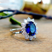 Custom Kate Middleton style sapphire engagement ring, side profile