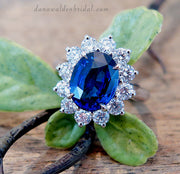 Kate Middleton style custom engagement ring with 3 carat blue sapphire