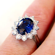 Kate Middleton style sapphire engagement ring on hand