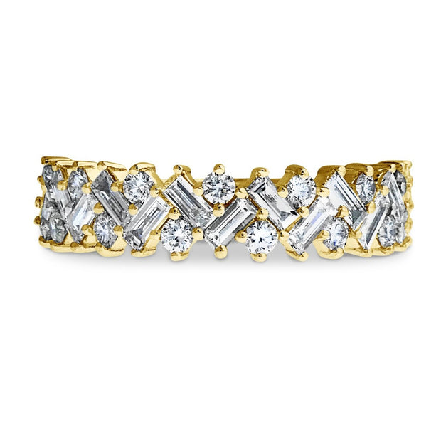 Lucca Baguette & Round Diamond Wedding Band (0.90ctw)
